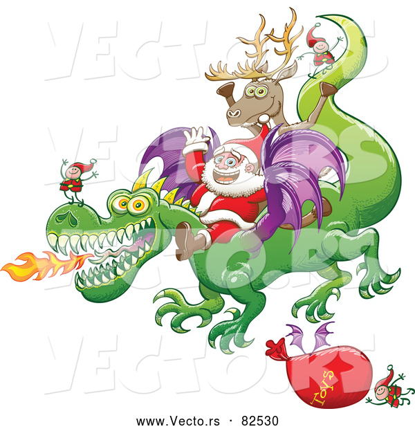 Cartoon Vector of Happy Santa Delivering Gifts by Dragon This Year