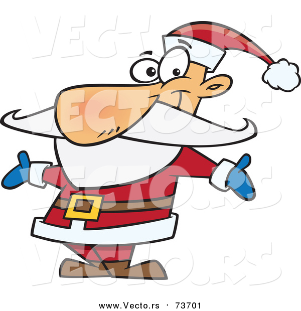 Cartoon Vector of Happy Santa Welcoming with Open Arms