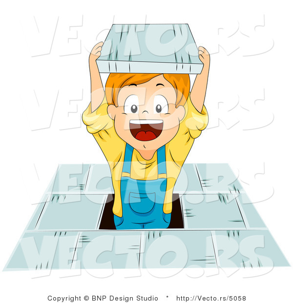 Cartoon Vector of Happy School Boy Jumping with Book