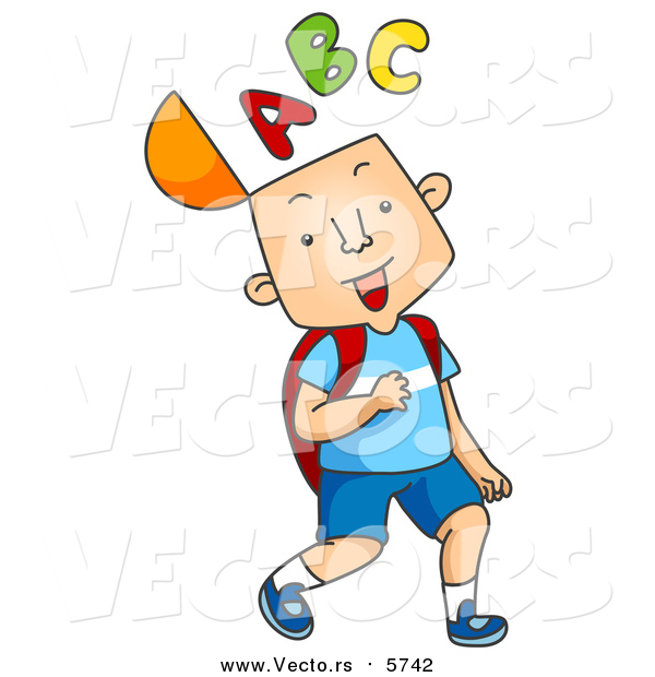 Cartoon Vector of Happy School Boy with the a B C Alphabet on His Mind