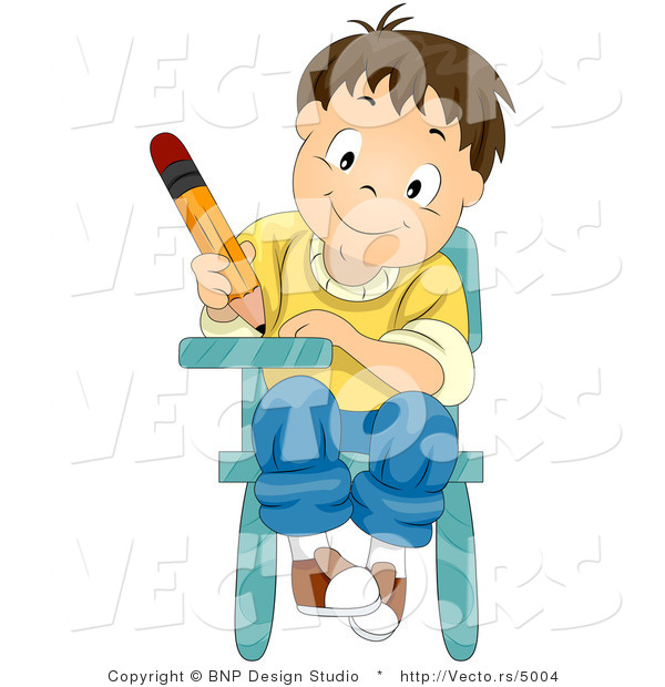 Cartoon Vector of Happy School Boy Writing While Seated at Desk
