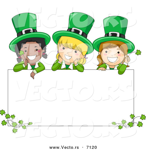 Cartoon Vector of Happy St. Patrick's Day Leprechaun Girls Standing Behind a Blank Sign with Clovers