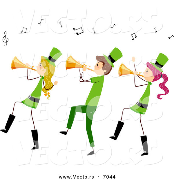 Cartoon Vector of Happy St. Patrick's Day People Playing Music with Trumpets