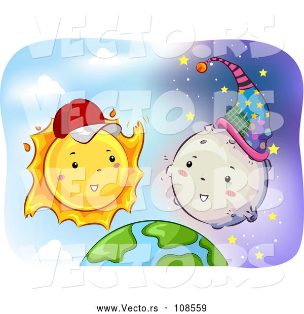 Cartoon Vector of Happy Sun Wearing a Baseball Cap and Talking to the Moon over Earth