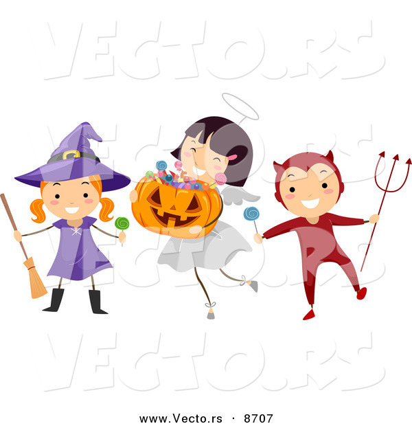 Cartoon Vector of Happy Witch, Angel, and Devil Kids Playing on Halloween