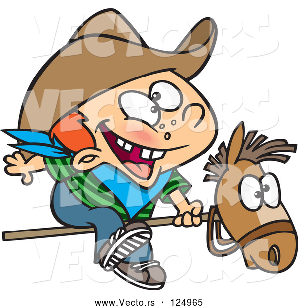 Cartoon Vector of Kid Cowboy Riding a Stick Pony