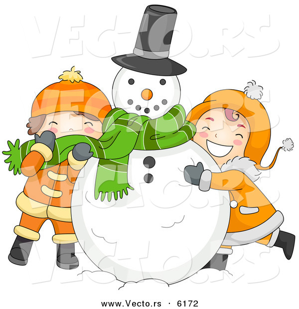 Cartoon Vector of Kids Hugging a Snowman on Christmas