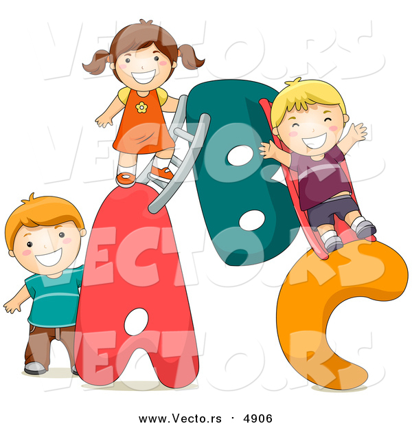 Cartoon Vector of Kids Playing on an a B C Alphabet Letters