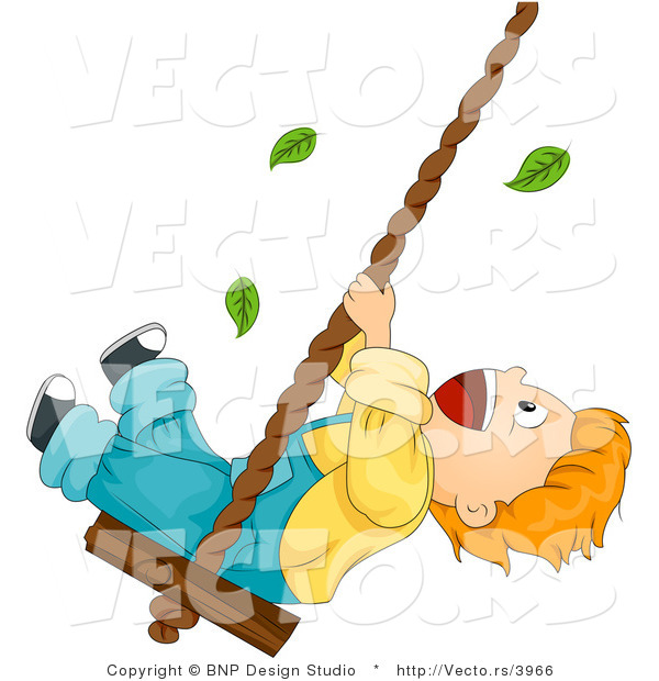 Cartoon Vector of Leaves Falling Around Happy Boy Swinging on a Rope with Wood Seat