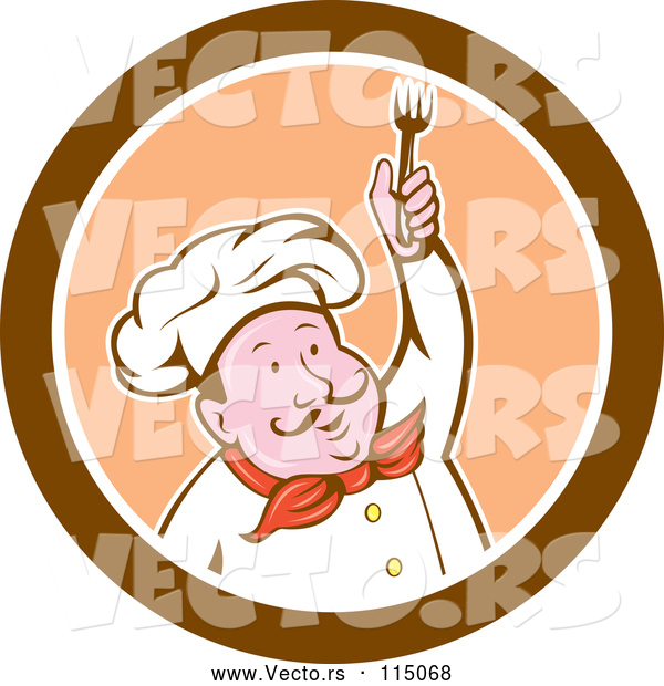 Cartoon Vector of Male Chef Holding up a Fork in a Brown Orange and White Circle