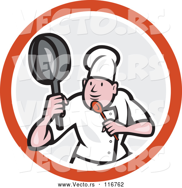 Cartoon Vector of Male Chef in a Kung Fu Fighting Stance Inside a Circle