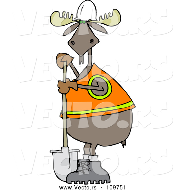 Cartoon Vector of Moose Contractor Holding a Shovel and Wearing a Safety Vest