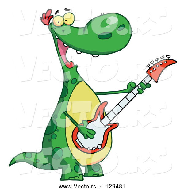 Cartoon Vector of Musical Green Dinosaur Rockin out with a Guitar During a Music Concert