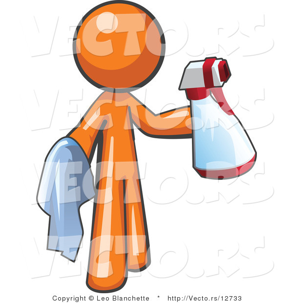Cartoon Vector of Orange Guy Cleaning with a Spray Bottle and Cloth