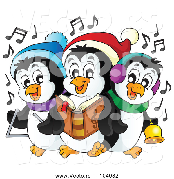 Cartoon Vector of Penguins Singing Christmas Carols