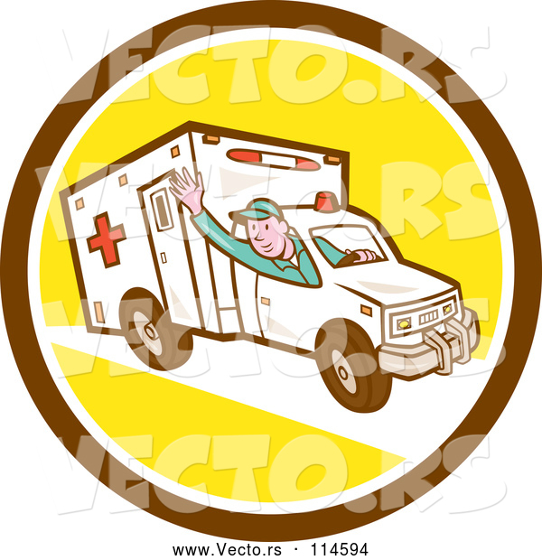 Cartoon Vector of Retro Ambulance Driver Waving in a Brown White and Yellow Circle