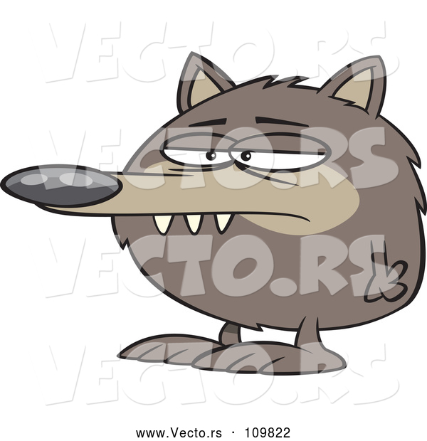 Cartoon Vector of Round Fuzz Ball Wolf or Dog