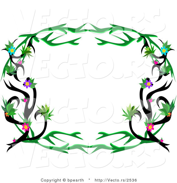 Cartoon Vector of Rounded Floral Tattoo Vines Frame Border