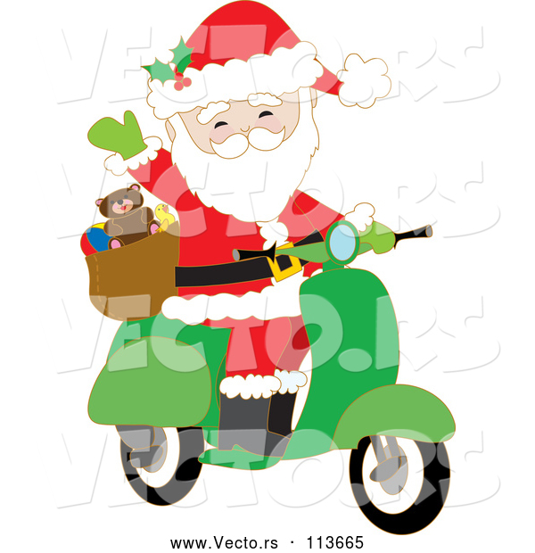 Cartoon Vector of Santa Claus Waving and Driving a Christmas Scooter