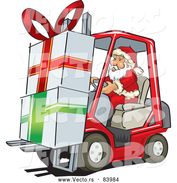 Cartoon Vector of Santa Delivering Big Presents with Forklift