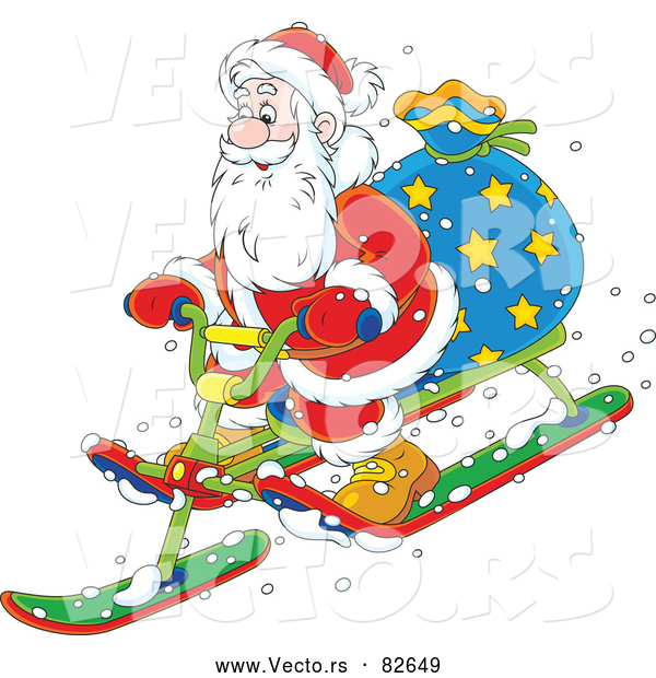 : Cartoon Vector of Santa Delivering Presents on Snow Sled