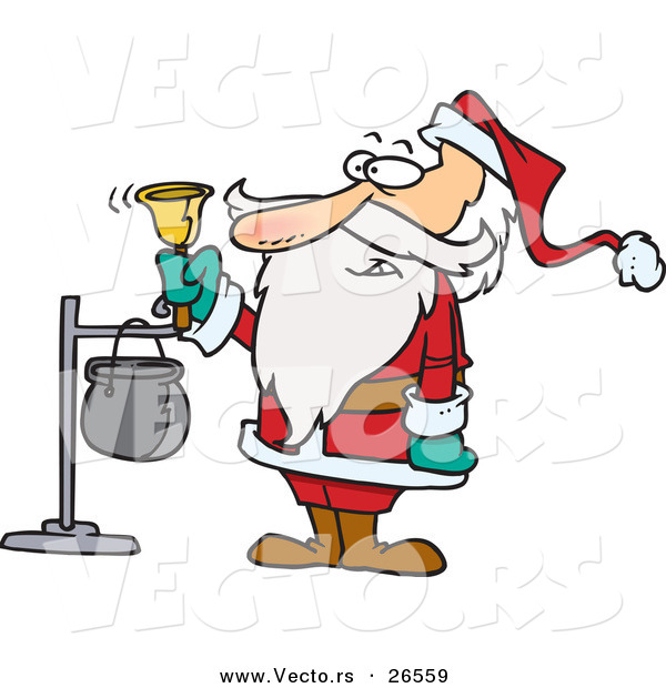 Cartoon Vector of Santa Ringing Charity Bell