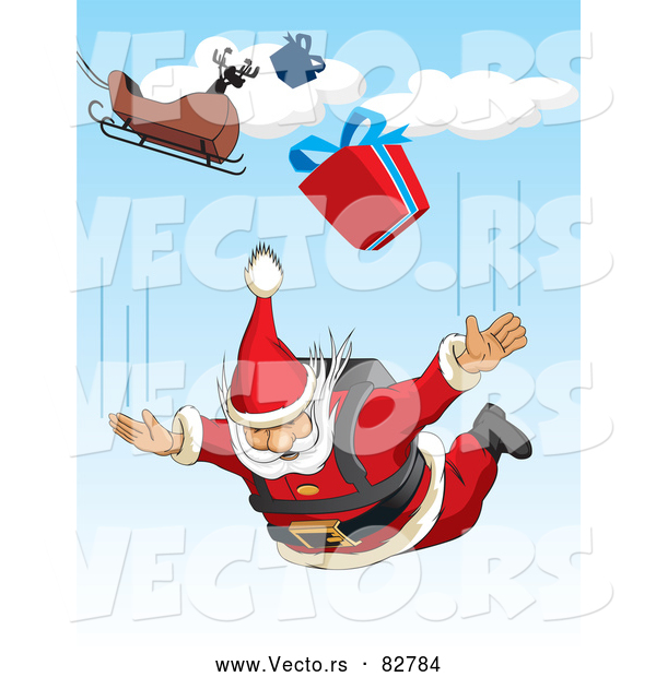 Cartoon Vector of Santa Sky Diving with Presents from His Sleigh