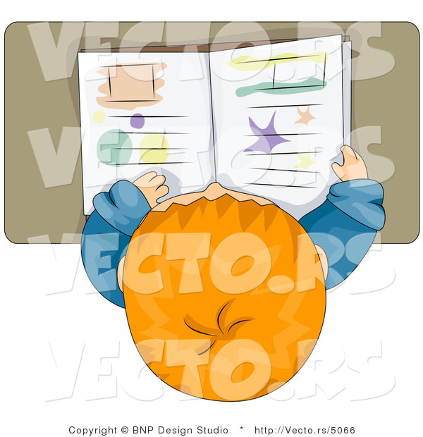 Cartoon Vector of School Boy Reading Book at His Desk