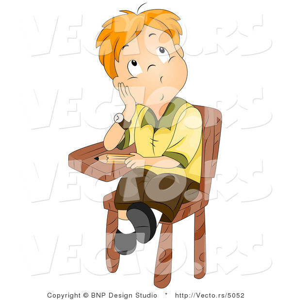 Cartoon Vector of School Boy Sitting at His Desk While Thinking