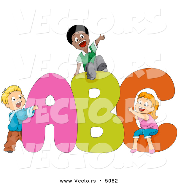 Cartoon Vector of School Kids Playing on Alphabet a B C Letters