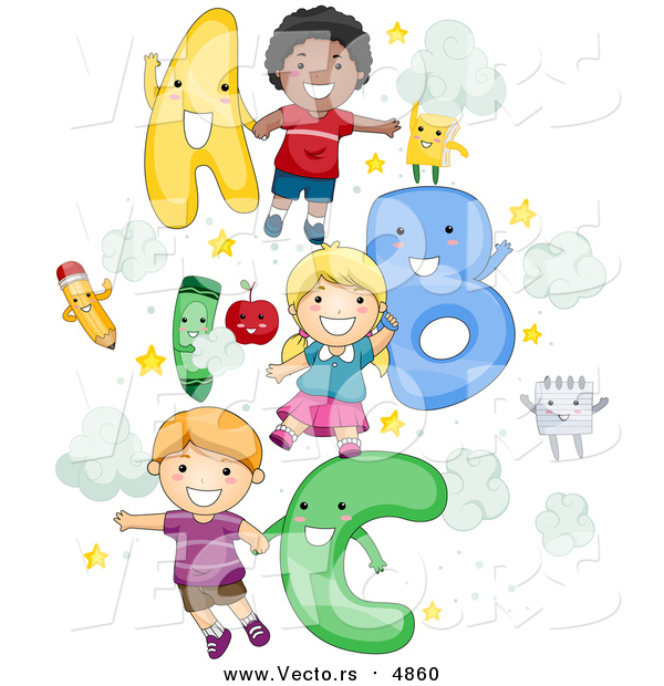 Cartoon Vector of School Kids with a B C Letters
