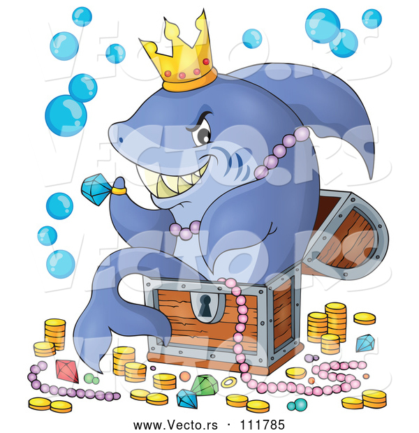 Cartoon Vector of Shark Sitting in a Treasure Chest and Surrounded by Booty