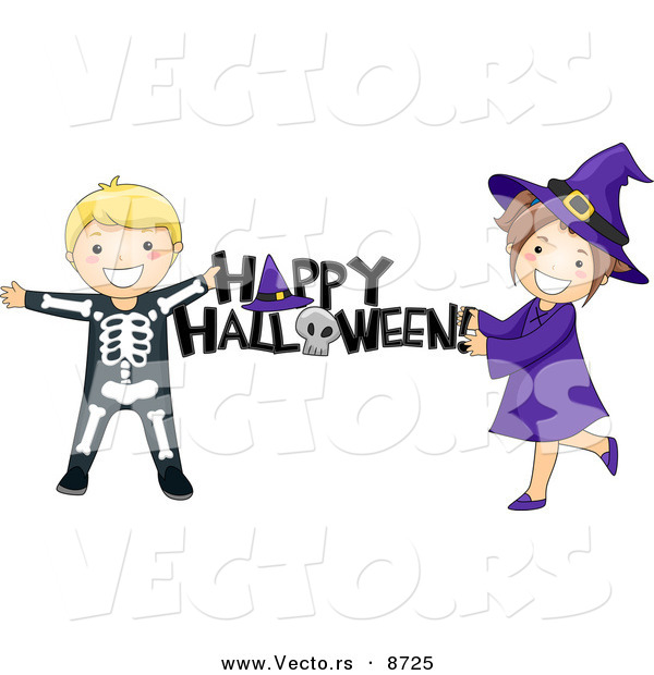 "Cartoon Vector of Skeleton and Witch Kids Holding a ""Happy Halloween"" Sign"