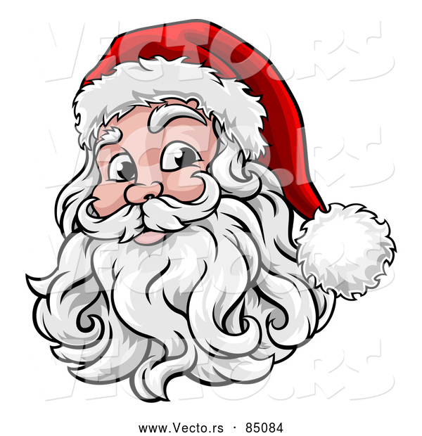 Cartoon Vector of Smiling Santa Claus Face with Hat and Beard