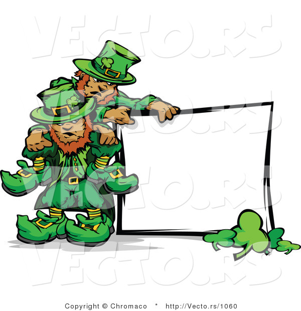 Cartoon Vector of St. Patrick's Day Leprechauns Standing Beside Blank Sign with Shamrocks