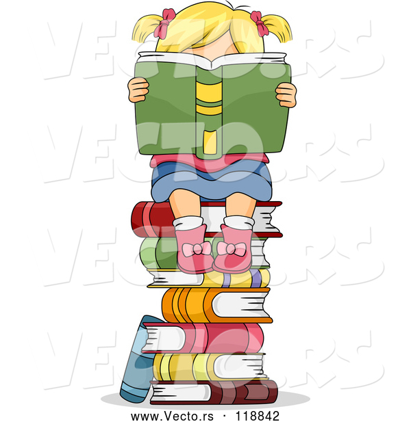 Cartoon Vector of Stack of Books