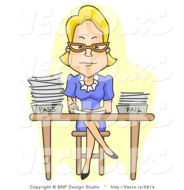Cartoon Vector of Teacher Sitting at Desk with Legs Crossed While Grading Tests
