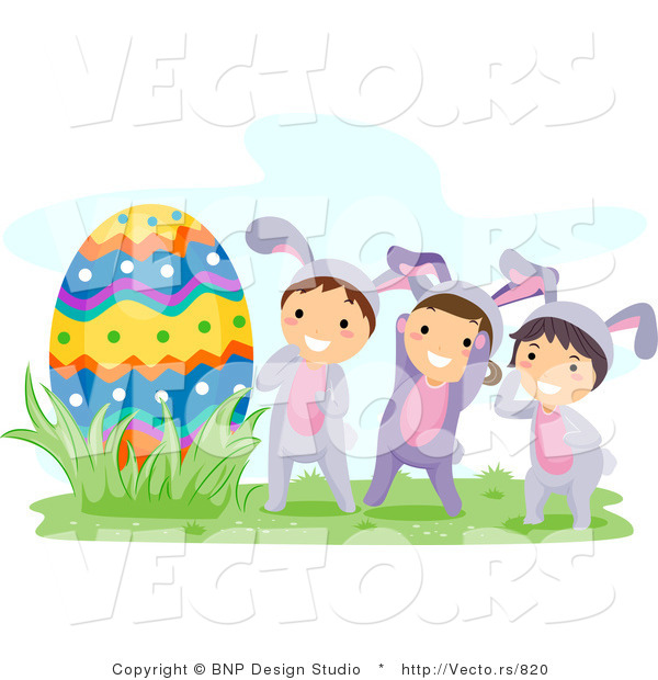 Cartoon Vector of Three Happy Kids in Bunny Costumes Beside a Giant Egg