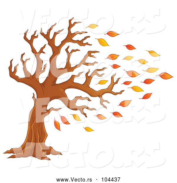 Cartoon Vector of Tree Being Stripped of Autumn Leaves in a Breeze