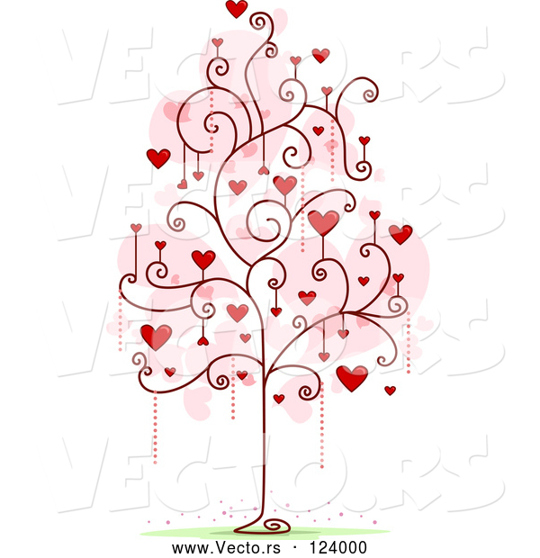 Cartoon Vector of Tree with Red Heart and Spiral Foliage