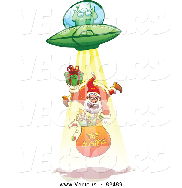 : Cartoon Vector of UFO Alien Abducting Santa