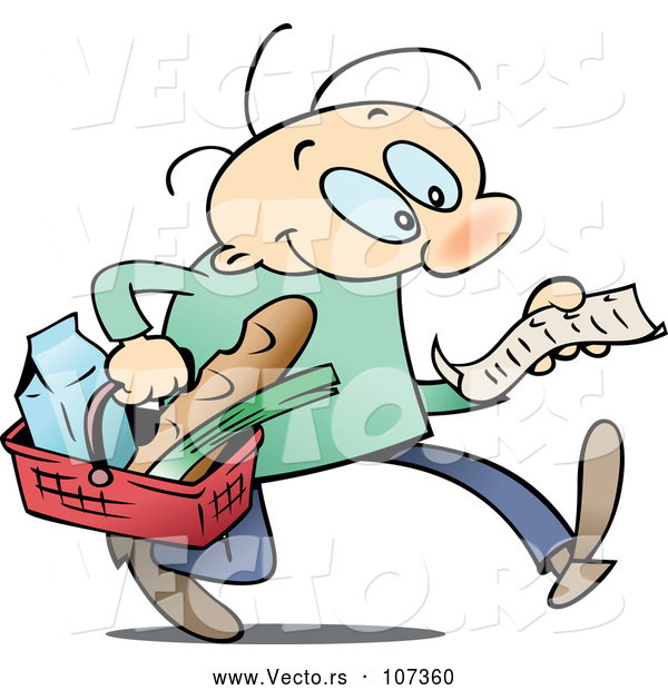 Cartoon Vector of White Man Carrying a Basket and Reading a Grocery Shopping List