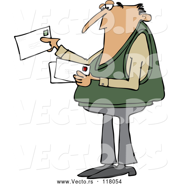 Cartoon Vector of White Man Looking at Letter Mail Envelopes