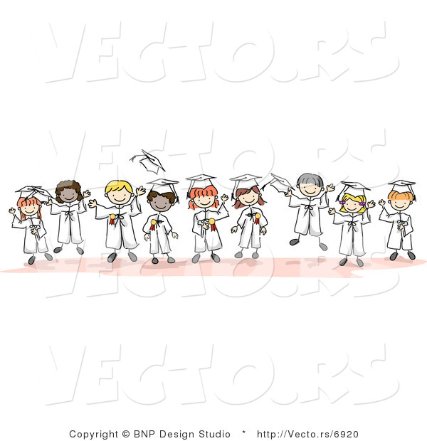 Cartoon Vector of Young Happy Graduates Standing in Horizontal Line