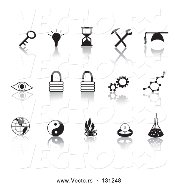 Collection Vector of Black Random Icons on a Reflective White Background