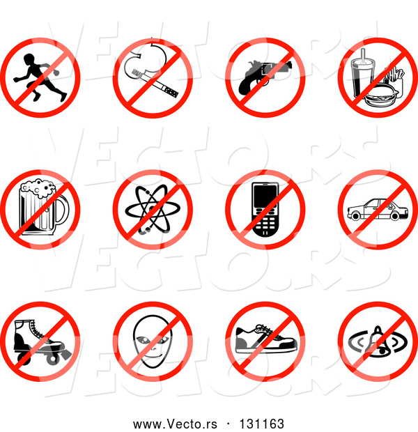 Collection Vector of Restriction Icons Showing No Running, Smoking, Guns, Fast Food, Beer, Atoms, Cell Phones, Driving, Skating, Aliens, Shoes, and Bells