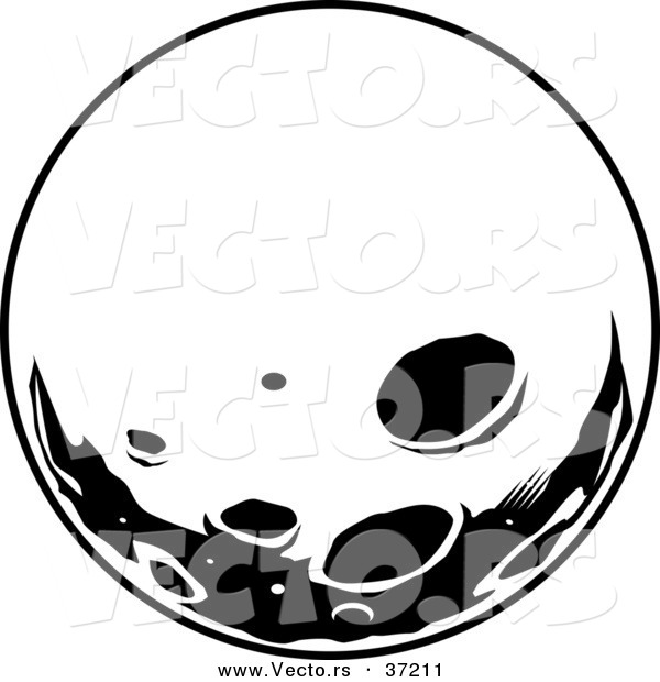Retro Vector of Moon with Deep Craters - Black and White Line Art