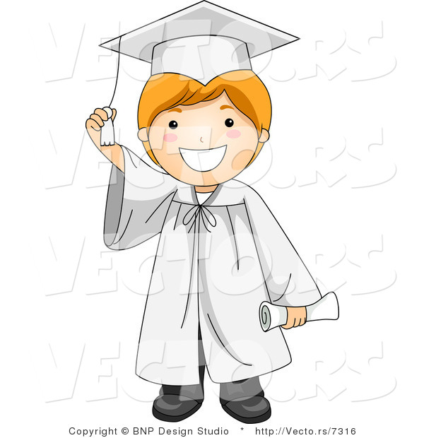 Vector Cartoon of Graduate Boy Smiling While Touching His Tassel
