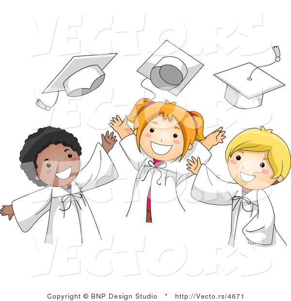 : Vector Cartoon of Graduates Happily Tossing Their Caps into the Air