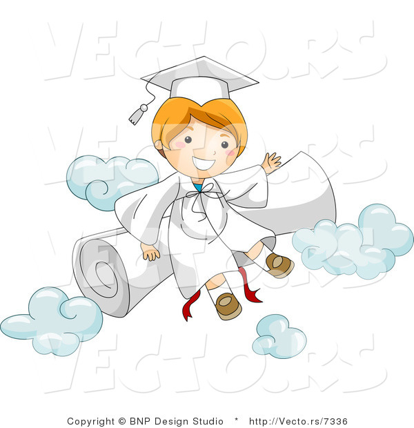 Vector Cartoon of Happy Graduate Boy Sitting on a Diploma and Clouds